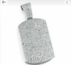 Certified 1.39Ct Round Diamond Men's Dog Tag Charm Pendant Solid 14K White Gold