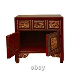 Chinese Vintage Fujian Golden Foo Dogs Carving Chest Cabinet cs5869