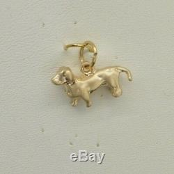 Cw215 14k Yellow 3d Solid Gold Vintage Dog Pendant Charm
