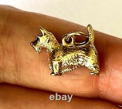 Dog Lover! 14K Solid Yellow Gold Custom Made Cute Puppy Ladies Charm Pendant