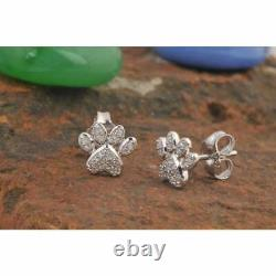 Dog Paw Stud Earrings Womens 2Ct Round Diamond Solid 10K White Gold