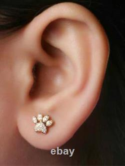 Dog Paw Stud Earrings Womens 2Ct Round Diamond Solid 10K Yellow Gold