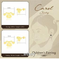 Dog Shaped 18k Solid Yellow Gold Push Back Stud Earrings for Infants and Toddler