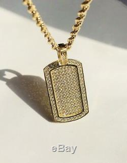 Dog Tag Iced Out Created Diamond Pendant 14K Solid Yellow Gold 1.50ct