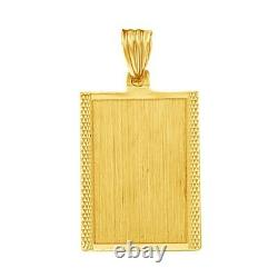 Dog Tag Id Charm Pendant Necklace 14K Solid Yellow Gold