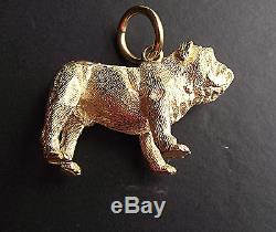 English Bull Dog Pendant cast in Solid 9ct gold with a Yellow Jump Ring 49 gram