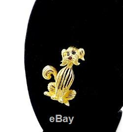 Fine Design Heavy 14k Solid Gold Sapphire Ruby Whimsical Schnauzer Dog Pin, 1 3/8
