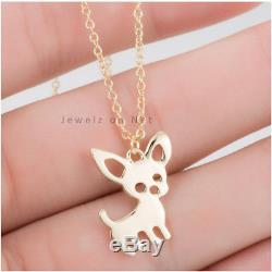 Fine Dog Charm Necklace Solid 14k Yellow Gold Handmade Jewelry NEW ARRIVALS