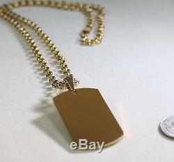 GOLD IPG PLATED PENDANT DOG TAG SOLID STAINLESS STEEL NECKLACE