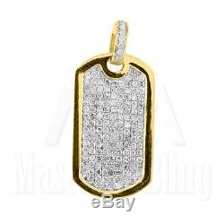 Genuine Diamond Dog Tag Pendant Solid 10K Yellow Gold Micro Pave Piece Charm Men