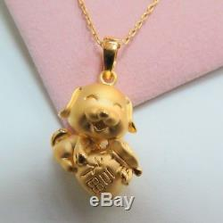 Genuine Solid 24K Yellow Gold 3D Cute Dog holding Lucky Bag Design Pendant