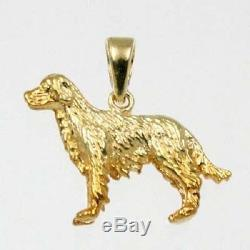 Golden Retriever Dog Charm Pendant in 14k Solid Yellow Gold Animal Charms