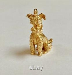 Heavy 14K Yellow Solid Gold 3D Dog Pendant