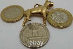 Heavy 9ct solid yellow gold Bull Dog pendant, charm or fob. Weighs 17.5 grams