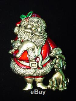 JJ Jonette Jewelry Antique Gold Pewter'SANTA with DOG & CAT' Pin CHRISTMAS