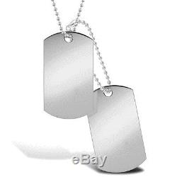 Jewelco London 9ct Solid White Gold military style Dog Tag 24 + 4 bead Chain