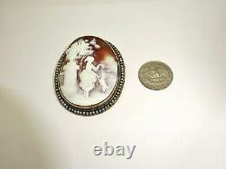 Large Antique 10k Solid Gold Mounted Seed Pearls Carved Shell Cameo, Girl & Dog
