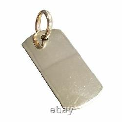 Men's 14k 585 Solid Yellow Gold Engraveable Dog Tag Pendant 17.6g 2.2x1.0in