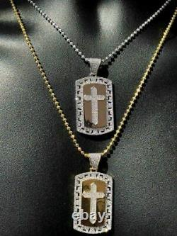 Mens Solid 925 Silver Real Icy 1ct Diamond Dog Tag Cross Pendant 14k Gold 2