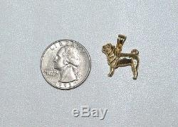 New 14k Solid Yellow Gold 3d Pug Dog Charm Pendant Heavy
