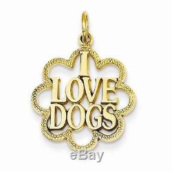 NEW SOLID 14K YELLOW GOLD I LOVE DOGS 1 CHARM OR PENDANT FOR NECKLACE 1.4g