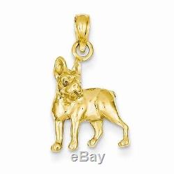 NEW SOLID 14K YELLOW GOLD POLISHED BOSTON TERRIER DOG CHARM OR PENDANT. 80X. 50