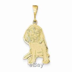 NEW SOLID 14K YELLOW GOLD TEXTURED BEAGLE DOG CHARM OR PENDANT FOR NECKLACE