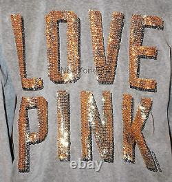 NEW VICTORIA'S SECRET LOVE PINK BLING Hoodie Sweat Grey GOLD Sequence DOG LOGO M