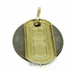 New 10k yellow Gold solid dog tag Pendant charm shiny fine gift jewelry 2.1g
