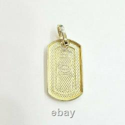 New 10k yellow Gold solid dog tag Pendant charm shiny fine gift jewelry 2.3g