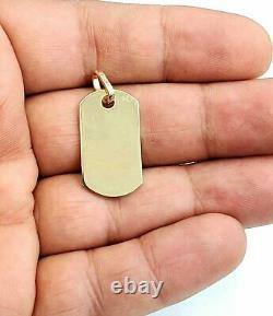 New 10k yellow Gold solid dog tag name tag Pendant charm shiny fine jewelry 4.1g