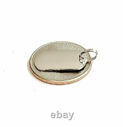 New 14k white Gold solid tiny dog tag name tag Pendant charm shiny jewelry 2.4g