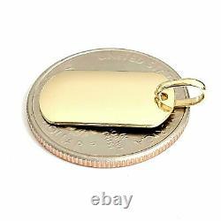 New 14k yellow Gold solid tiny dog tag name tag Pendant charm shiny jewelry 2.4g