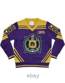 Omega Psi Phi Fraternity Wool V-neck Sweater Q-dog Purple Gold Sweater Top