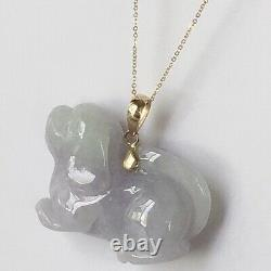P-2640 New 14k Solid Yellow Gold Natural Quality Lavender Jade Dog Pendant Luck