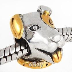 PATCH DOG gold plated solid 925 sterling silver charm bead fit European bracelet