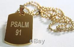 PSALM 91 SOLID THICK STAINLESS STEEL IPG GOLD PLATED DOG TAG BALL CHAIN 30