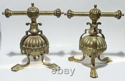 Pair Unusual Antique Solid Brass Fireplace Andirons Fire Dogs Scallop Exquisite