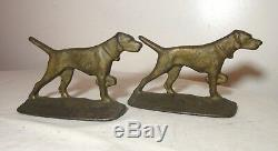Pair of 2 antique figural solid gold gilt cast iron pointer hunting dog bookends