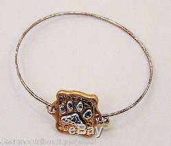 Paw Print Two-tone Bracelet Dog Cat Gold Silver Metallic Hammered Bangle