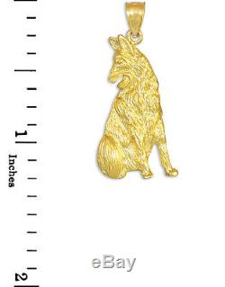 Polished Solid Gold Sitting German Shepherd Dog Pendant Made in USA