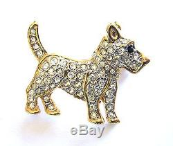 Puppy Dog Brooch Pet Jewelry Gold Plated Crystal Animal Lapel Pin Free Shipping