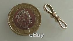 RARE VICTORIAN 9ct SOLID GOLD DOUBLE DOG CLIP CLASP FOR ALBERT WATCH CHAIN 1.6g