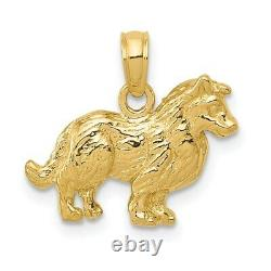 Real 14kt Yellow Gold Collie Dog Pendant