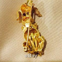 Retro Solid 14K Yellow Gold & Genuine Ruby Poodle Dog Estate Pin Brooch