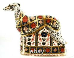 Royal Crown Derby OLD IMARI SOLID GOLD BAND LURCHER Dog Paperweight New'1st