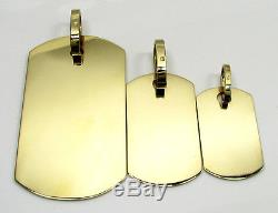 S M L Dog Tag Army SOLID 10k Yellow Real Gold Engravable Pendant