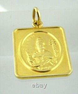S. Silverio Dog Tag Pendant in 18k Solid Yellow Gold For Men