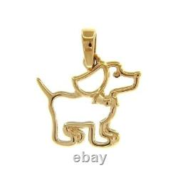 SOLID 18K YELLOW GOLD SMALL 13mm 0.5 DOG PENDANT, CHARMS, MADE IN ITALY