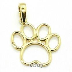 SOLID 18K YELLOW GOLD SMALL 15mm 0.6 CAT DOG PAWPRINT PAW PENDANT, ITALY MADE